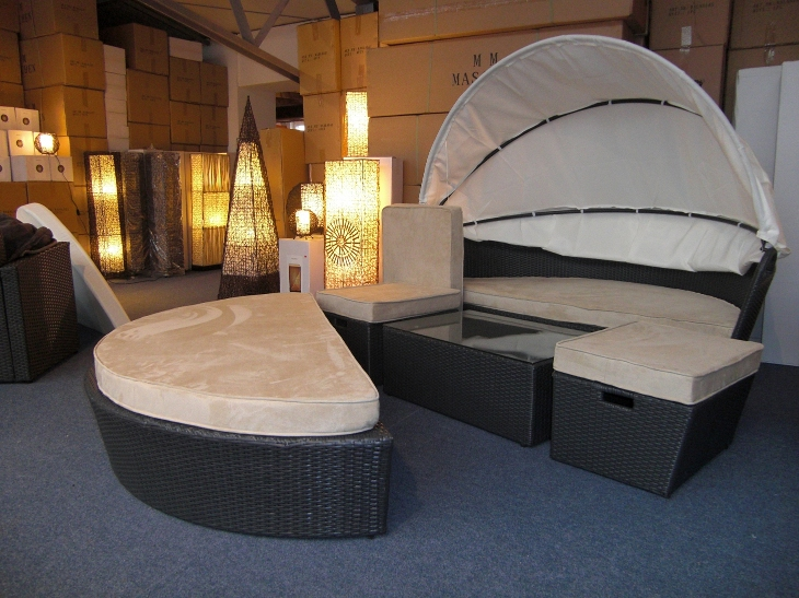 rattan sonneninsel kuschel muschel 224cm lounge ebay. Black Bedroom Furniture Sets. Home Design Ideas