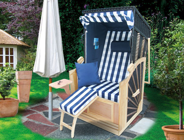 strandkorb single k nigsstuhl blau kariert ebay. Black Bedroom Furniture Sets. Home Design Ideas
