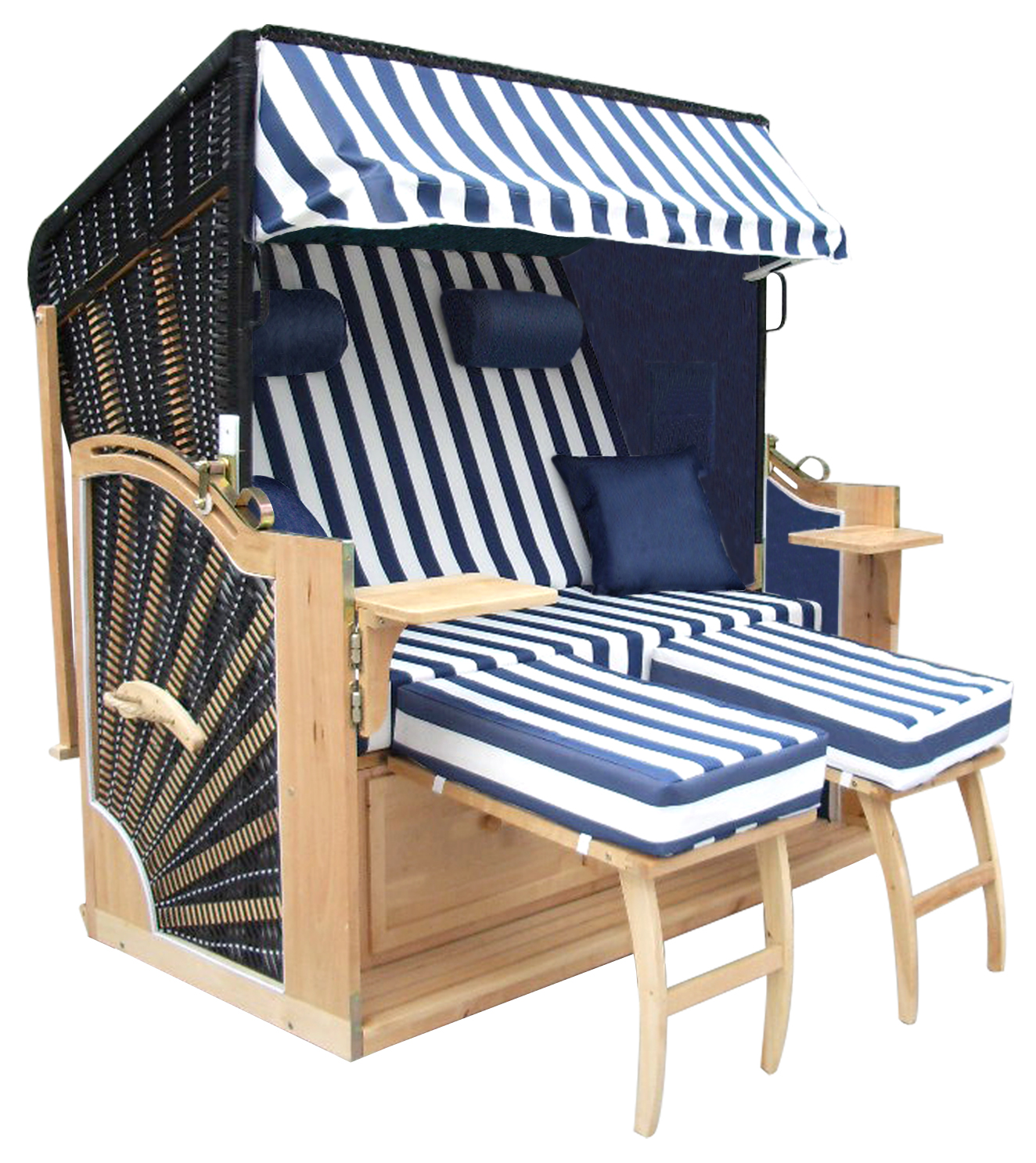 strandkorb xxl r gen ii blau wei gestreift ebay. Black Bedroom Furniture Sets. Home Design Ideas