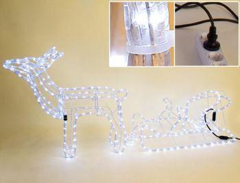led rentier beleuchtet mit schlitten f r innen und aussen x mas weihnachten. Black Bedroom Furniture Sets. Home Design Ideas