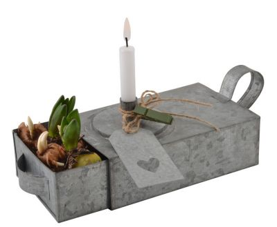 ib laursen zink kerzenhalter f r stabkerzen mit schublade. Black Bedroom Furniture Sets. Home Design Ideas