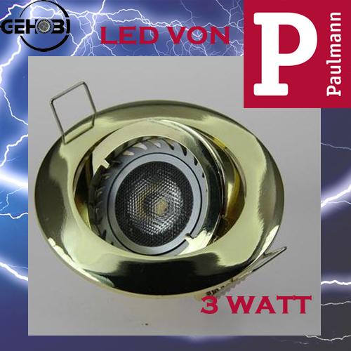 3 watt led paulmann gu10 4037 3 messing set einbaustrahler for Deckenleuchte led mehrflammig