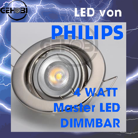 led einbaustrahler set 4005 5 edelstahl geb m 4 w led philips dimmbar gu10 ein ebay. Black Bedroom Furniture Sets. Home Design Ideas