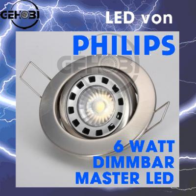 6 watt philips dimmbar led decken einbaustrahler set 4011 0 gu10 einbauleuchte 2 ebay. Black Bedroom Furniture Sets. Home Design Ideas