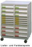 Rollcontainer 20 Fächer A4 weiß mobil styro individuell Ablagesystem Ablagefäche