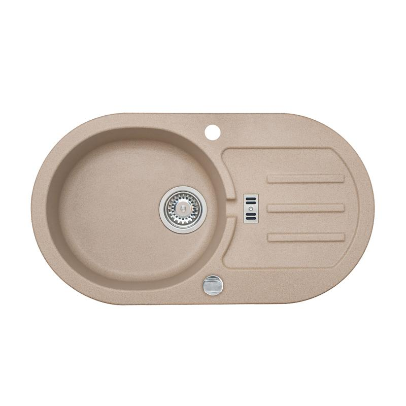 SET Granitspüle + Armatur Küchenspüle FARBE BEIGE  ~ Spülbecken Mit Armatur