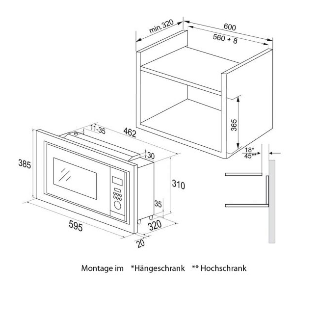 mikrowelle platzsparend haushaltsger te. Black Bedroom Furniture Sets. Home Design Ideas