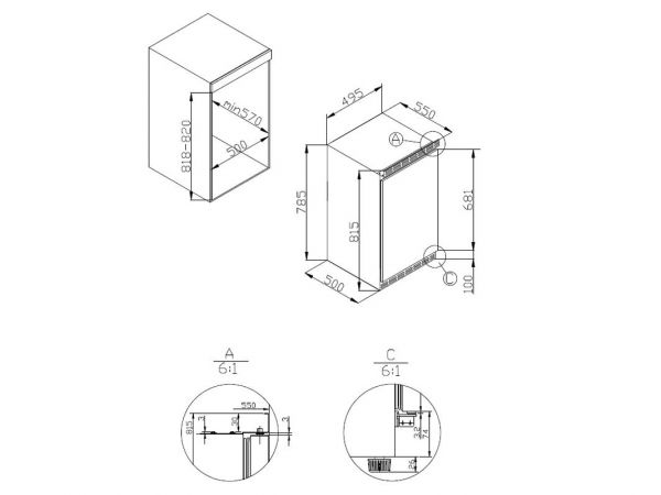 uks 16147 amica unterbau k hlschrank 50 cm anti bacteria eek a ebay. Black Bedroom Furniture Sets. Home Design Ideas