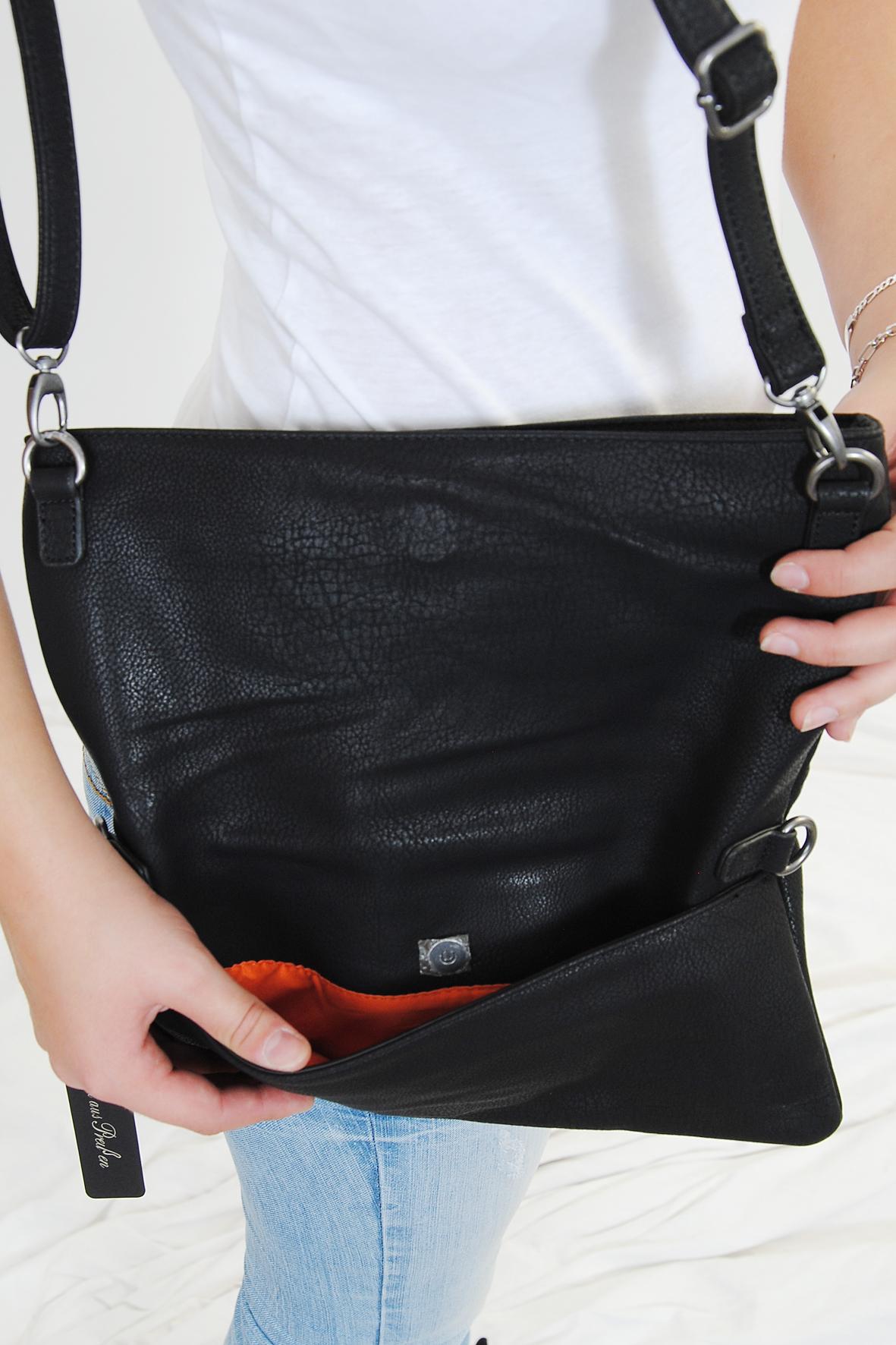 fritzi aus preu en damen handtasche umh ngetasche clutch ronja black. Black Bedroom Furniture Sets. Home Design Ideas