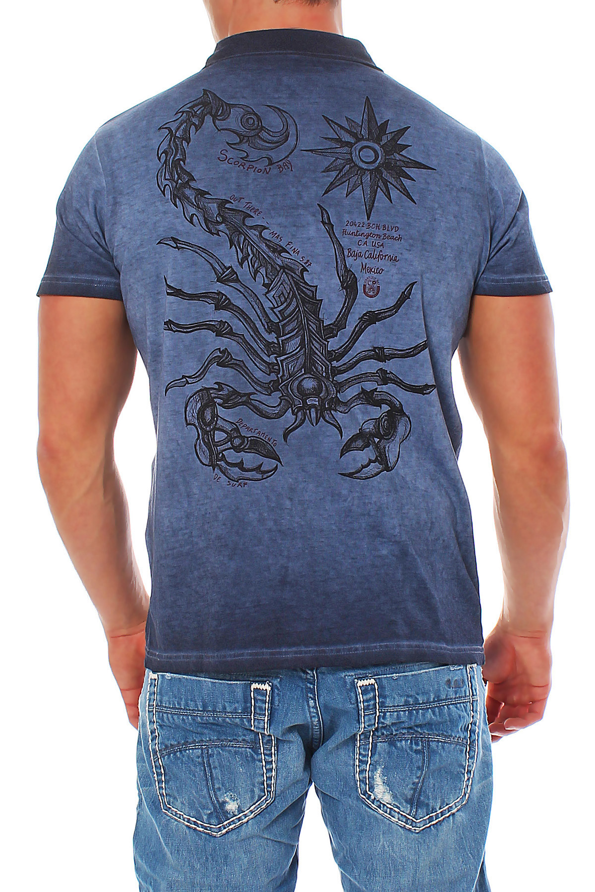 Scorpion bay mens polo shirt t shirt shirt mte2927 navy ebay for South bay t shirts