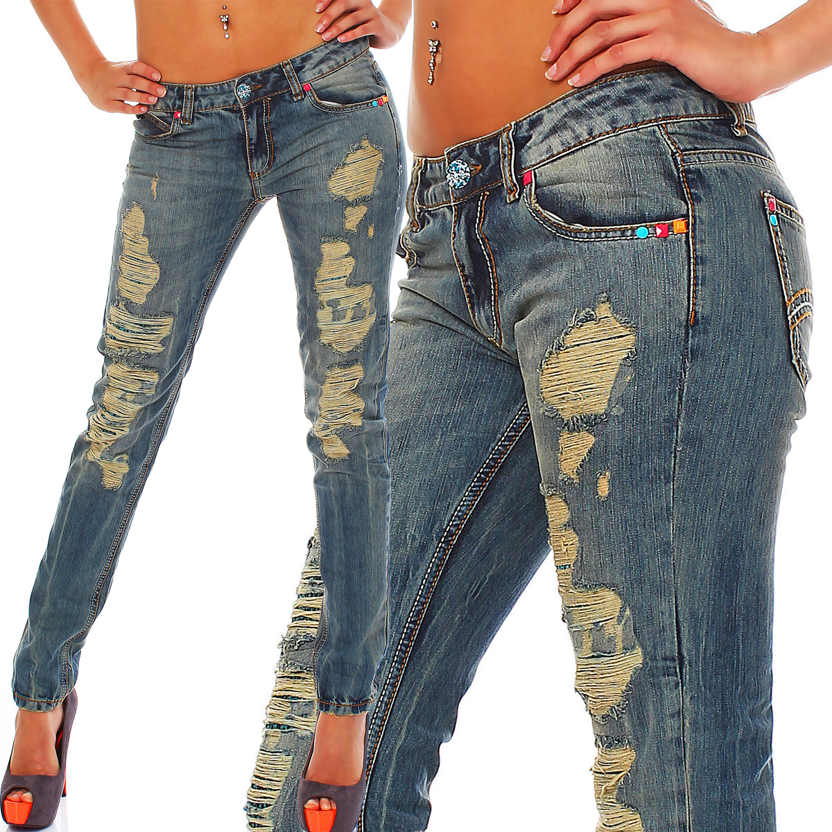 red bridge by cipo baxx damen destroyed jeans hose jeanshose r32003 ebay. Black Bedroom Furniture Sets. Home Design Ideas