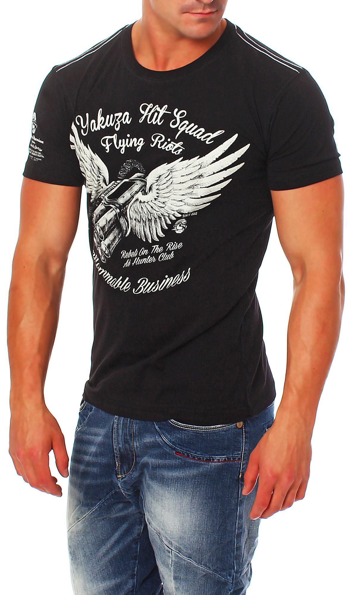 yakuza premium men 39 s t shirt flying riots yps 1708 black. Black Bedroom Furniture Sets. Home Design Ideas