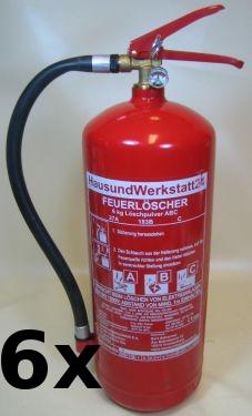 Pulver-Feuerlöscher GP-6x ABC 6kg Pulverlöscher mit Mengenrabatt in Wunschmenge
