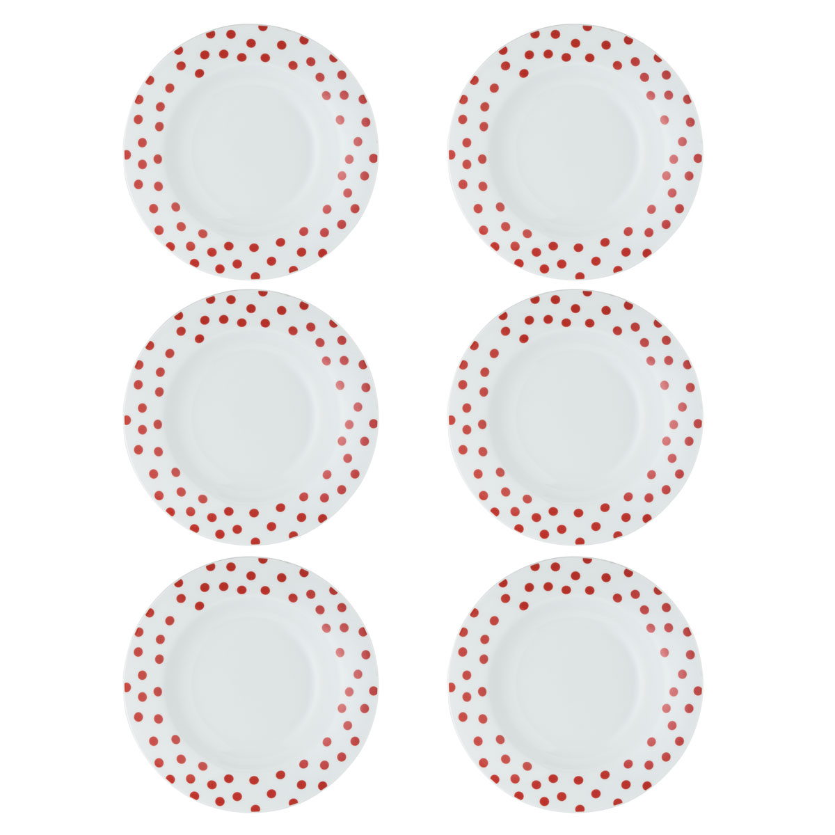 6 suppenteller vichy dots rot teller tief 23 cm porzellanteller rote punkte ebay. Black Bedroom Furniture Sets. Home Design Ideas