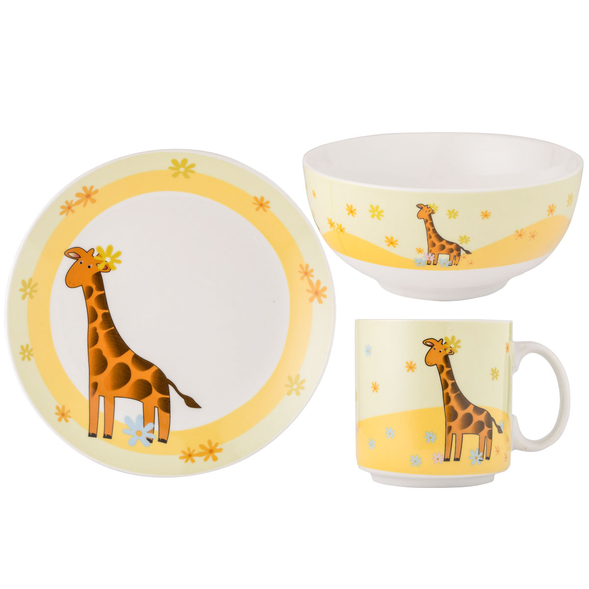 3er set kindergeschirr giraffe porzellan geschirr kinder teller sch ssel tasse ebay. Black Bedroom Furniture Sets. Home Design Ideas
