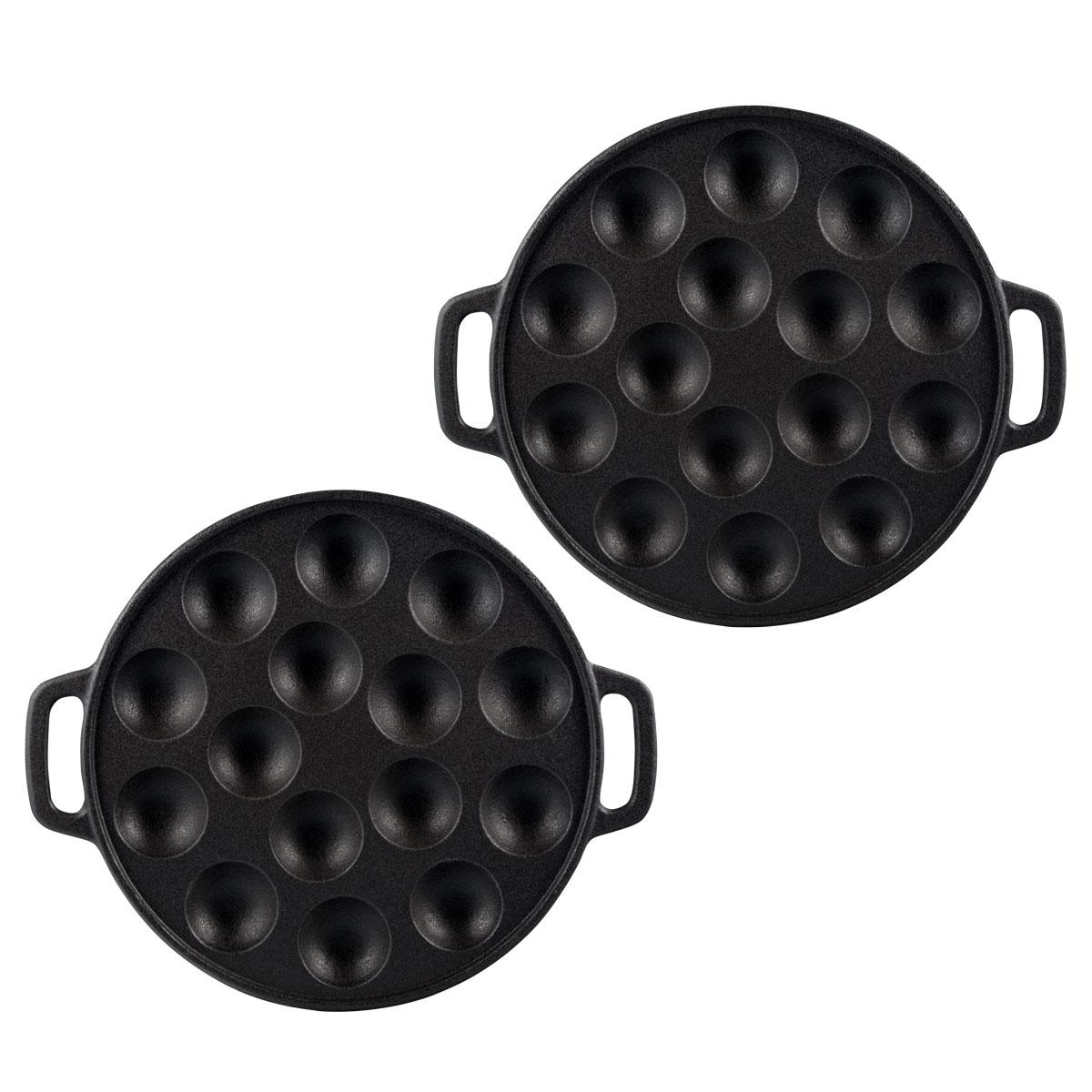 2 poffertjes pfannen gusseisen poffertjes pan platte mini pfannkuchen bratpfanne ebay. Black Bedroom Furniture Sets. Home Design Ideas