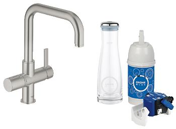 grohe blue pure starter kit 31299 f r bwt filter u auslauf supersteel 31299 ebay. Black Bedroom Furniture Sets. Home Design Ideas