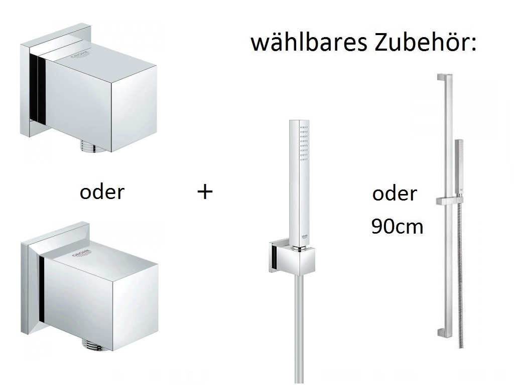 grohe cube set wandanschlussbogen und brausegarnitur w hlbar ebay. Black Bedroom Furniture Sets. Home Design Ideas