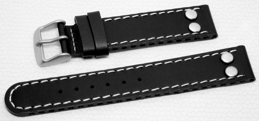 20mm LACO Uhrenarmband Dornschließe SCHWARZ XL