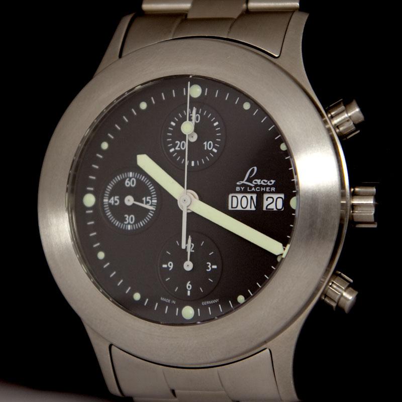 LACO Herrenuhr Automatik Chronograph ETA Valjoux 7750