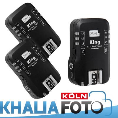 Pixel-KING-e-TTL-Funk-Blitzausloeser-System-inkl-2-Empfaenger-Set-fuer-Canon-EOS