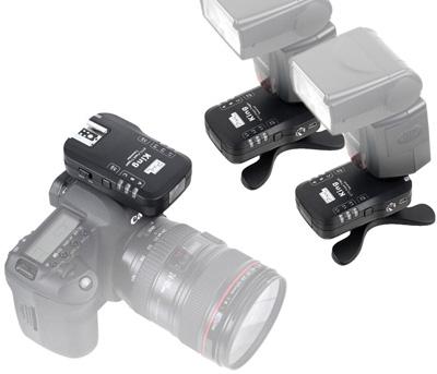Pixel KING e-TTL Funk-Blitzauslöser System inkl. 2 Empfänger, Set für Canon EOS