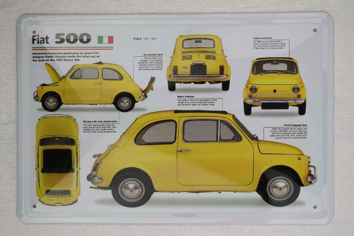 blech metall schild fiat 500 datenblatt 20x30 wanddeko italien klassiker garage ebay. Black Bedroom Furniture Sets. Home Design Ideas