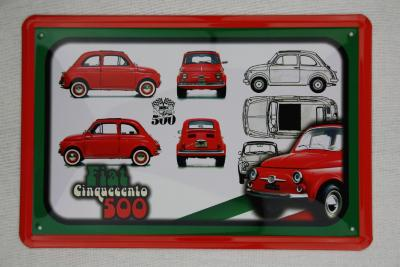 fiat 500 oldtimer blechschild metallschild schilder 20 x. Black Bedroom Furniture Sets. Home Design Ideas