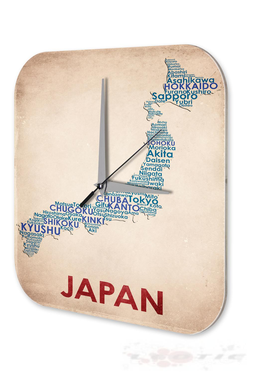 wanduhr welt reise landkarte japan wand deko uhr 25x25 cm ebay. Black Bedroom Furniture Sets. Home Design Ideas