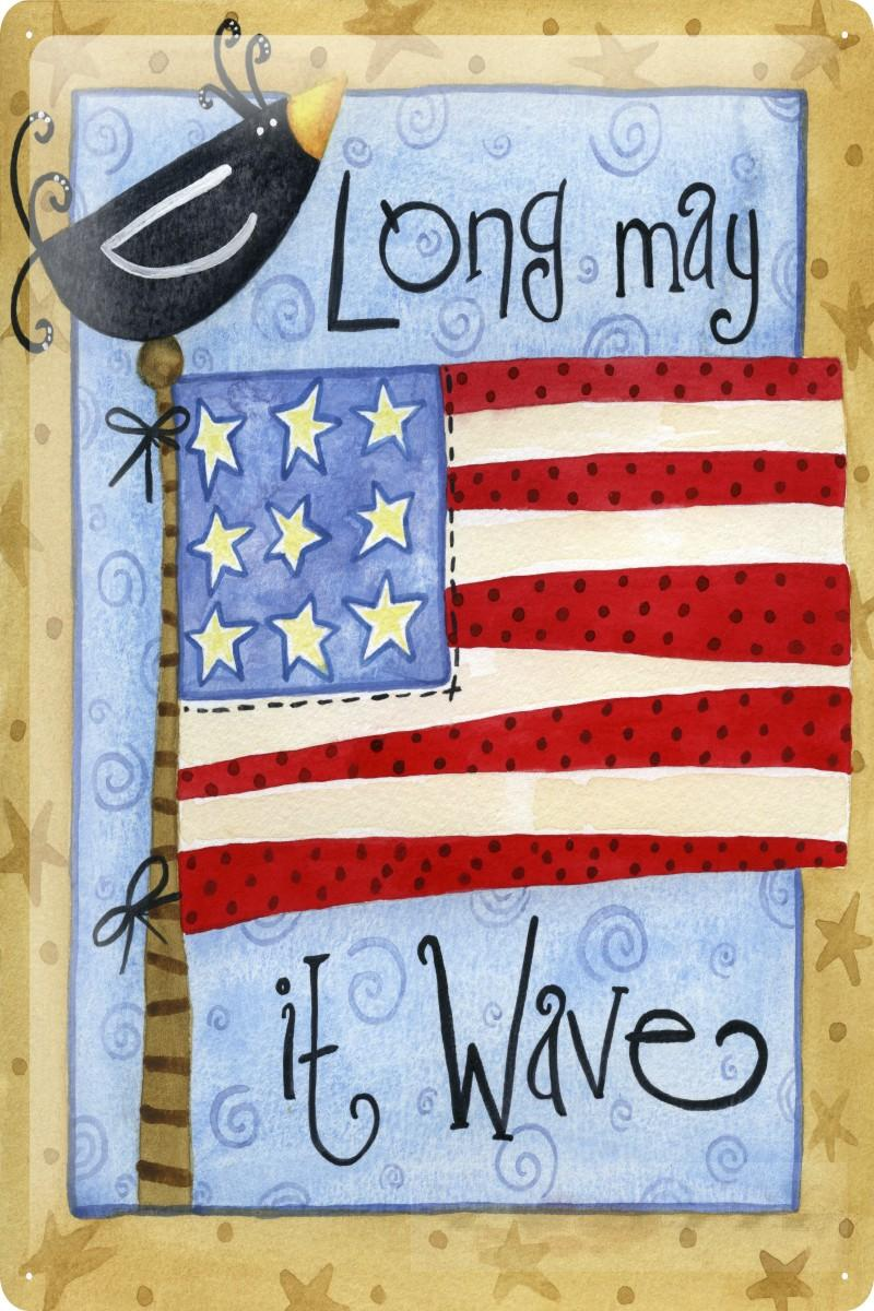 blechschild sprüche rabe usa flagge long may it wave metall wand