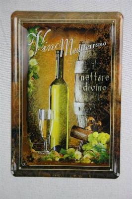 blechschild vino mediterrano wein deko metallschild 20x30. Black Bedroom Furniture Sets. Home Design Ideas