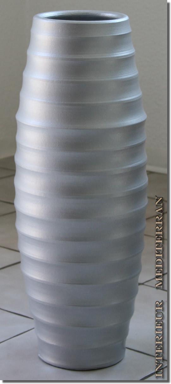 bodenvase vase tischvase dekovase keramik 50cm gro g nstig modern silber neu ebay. Black Bedroom Furniture Sets. Home Design Ideas