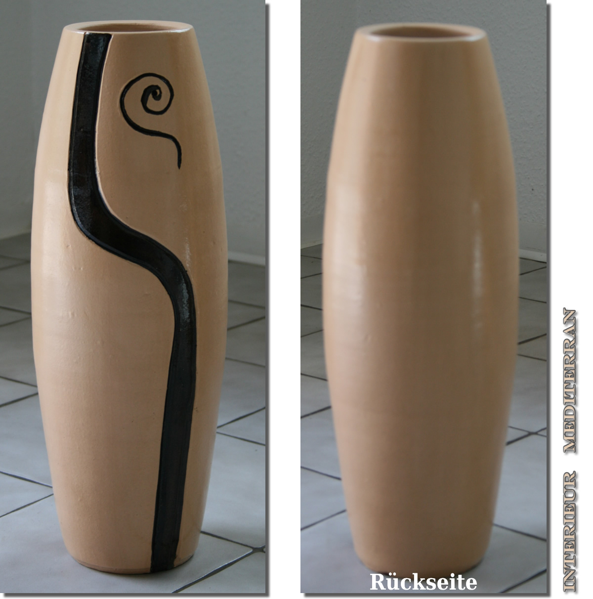 bodenvase keramik 60 cm vase amphore dekovase moderne deko beige aus portugal ebay. Black Bedroom Furniture Sets. Home Design Ideas