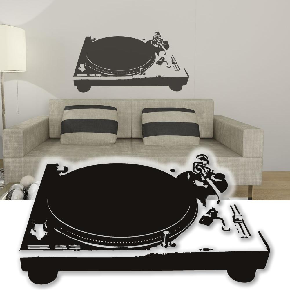 wandtattoo plattenspieler dj wandsticker tattoos f r die wand xxl ebay. Black Bedroom Furniture Sets. Home Design Ideas