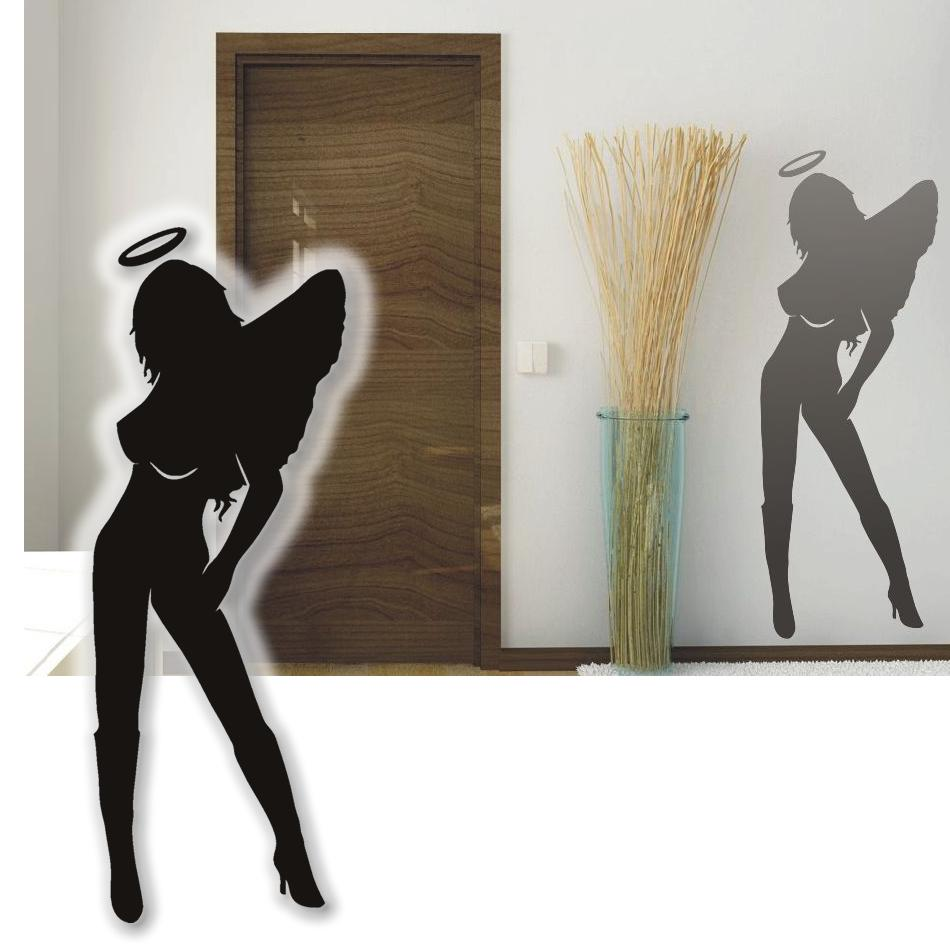 wandtattoo sexy engel wandsticker tattoos f r die wand 75cm ebay. Black Bedroom Furniture Sets. Home Design Ideas