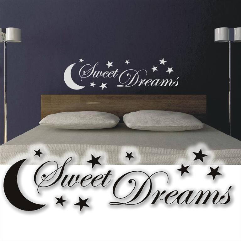 wandzitat sweet dreams xxl wandtattoo schlafzimmer wandtatoo wand tattoo sterne ebay. Black Bedroom Furniture Sets. Home Design Ideas