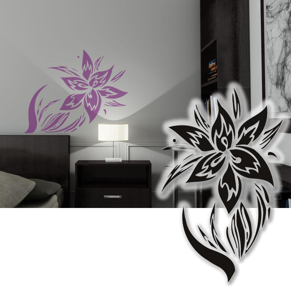 wandtattoo hibiskus tribal blume wandsticker wohnzimmer blumen 75cm ebay. Black Bedroom Furniture Sets. Home Design Ideas