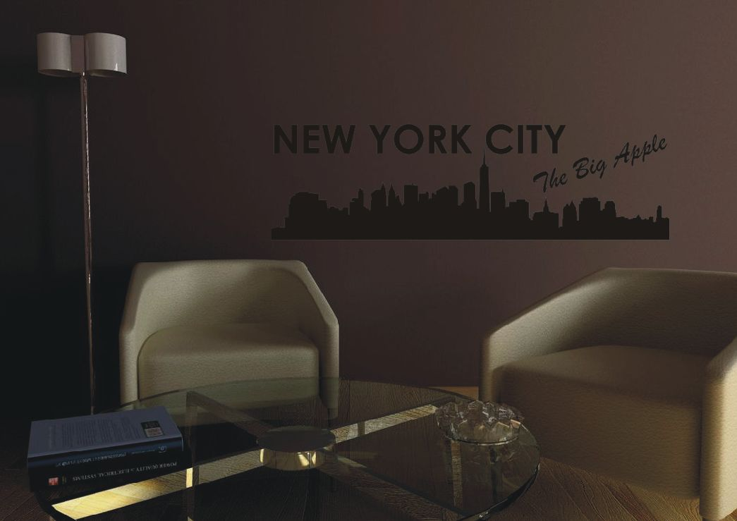 wandtattoo new york skyline big apple wandsticker wand tattoo sticker wandtatoo ebay. Black Bedroom Furniture Sets. Home Design Ideas