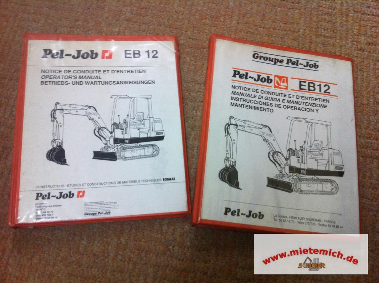 betriebs und wartungsanleitung f r pel job eb 12 original. Black Bedroom Furniture Sets. Home Design Ideas