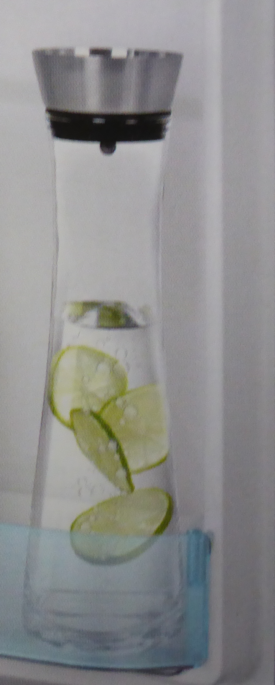 glaskaraffe 1 liter mit praktischem edelstahlausgie er bremermann ebay. Black Bedroom Furniture Sets. Home Design Ideas