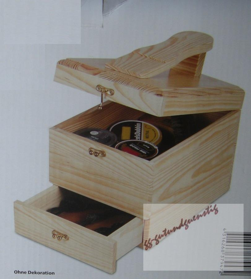 schuhputzbox box schuhe putzen holz ebay. Black Bedroom Furniture Sets. Home Design Ideas