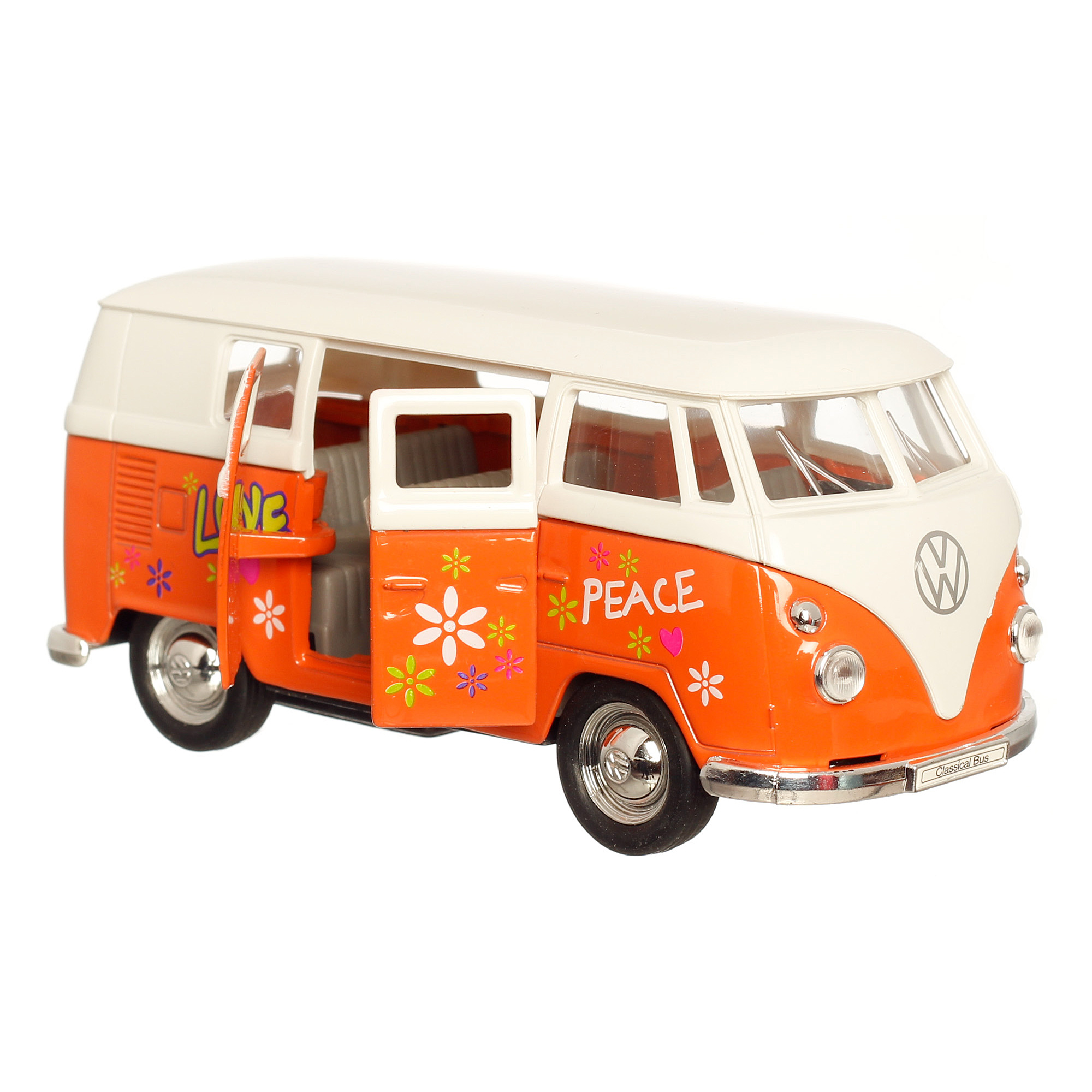 vw bus hippie metall 11cm orange modellauto welly ebay. Black Bedroom Furniture Sets. Home Design Ideas