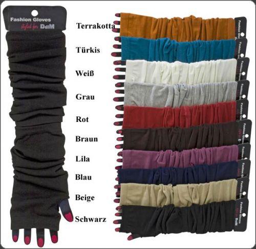Armstulpen Pulswärmer Feinstrick Handschuhe fingerlos 10 Farben Neu Stulpen