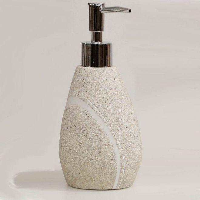 sandstein beiger seifenspender seifen dosierer mit steinoptik serie rock. Black Bedroom Furniture Sets. Home Design Ideas