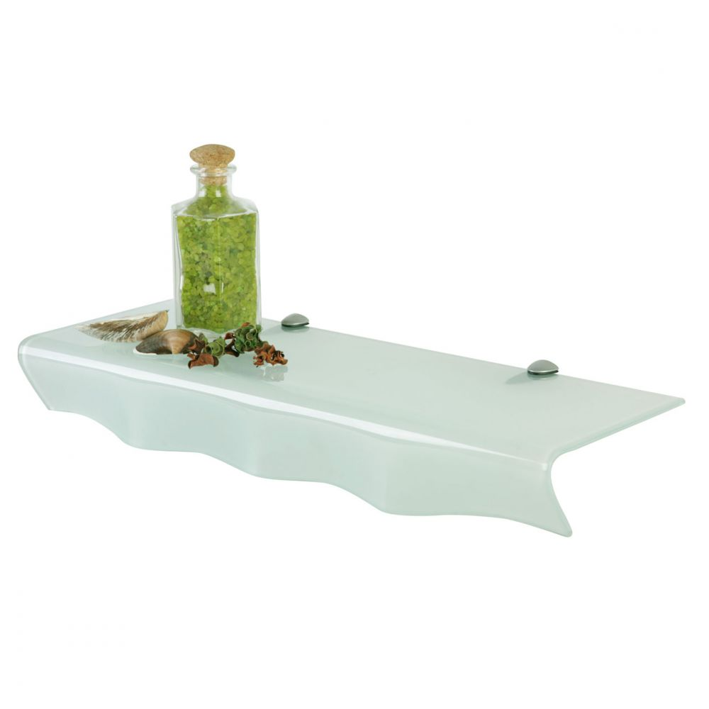 modernes badregal glasregal wandregal mit ablage aus milchglas 60 x 20 x 8cm ebay. Black Bedroom Furniture Sets. Home Design Ideas