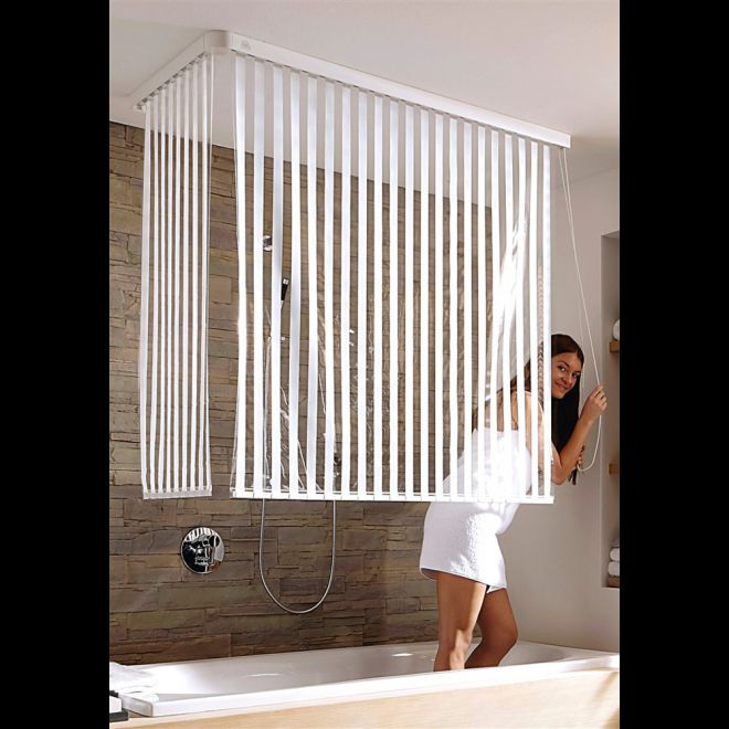 kleine wolke eck duschrollo incl 2 rollos streifen und 2 kassetten 132 56x240cm ebay. Black Bedroom Furniture Sets. Home Design Ideas