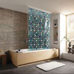 kleine wolke duschvorhang duschrollo incl kassette design mosaik blau 128x240cm ebay. Black Bedroom Furniture Sets. Home Design Ideas