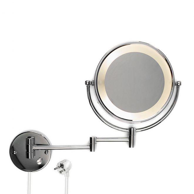 led beleuchteter kosmetikspiegel schminkspiegel wandspiegel mit 10 fach zoom 5907574070062 ebay. Black Bedroom Furniture Sets. Home Design Ideas