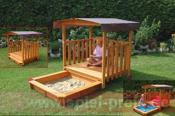gaspo holzspielhaus mit sandkasten sandkiste haus ebay. Black Bedroom Furniture Sets. Home Design Ideas