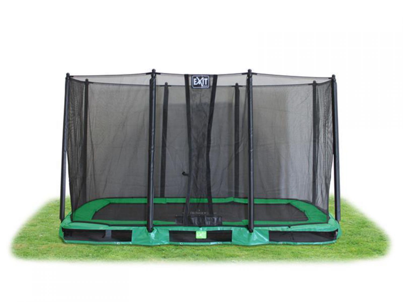 EXIT Trampolin InTerra Rechteckig 244x427 cm (8x14 Ft) grün mit Netz ...